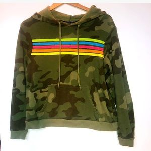 Camo Hoodie with rainbow stripes